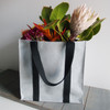 "Gray Recycled Canvas Tote with Black Band 12""W x 12""H x 7 3/4""D"