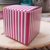 "2""x2""x2""Paper Square Box-Hot Pink Stripes"