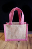 Small Jute Tote with Pink Trim