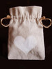 Linen Bag with White Heart Print (3 sizes)