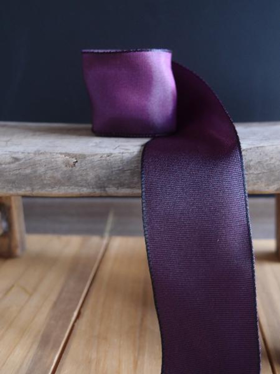 Eggplant Two-Toned Grosgrain Ribbon with Wired Edge (2 sizes)