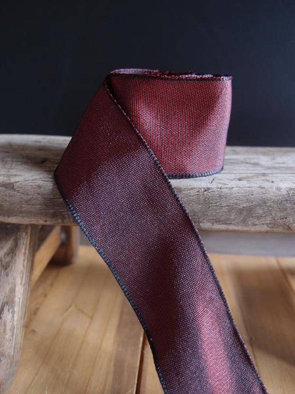 Burgundy Two-Toned Grosgrain Ribbon with Wired Edge (2 sizes)