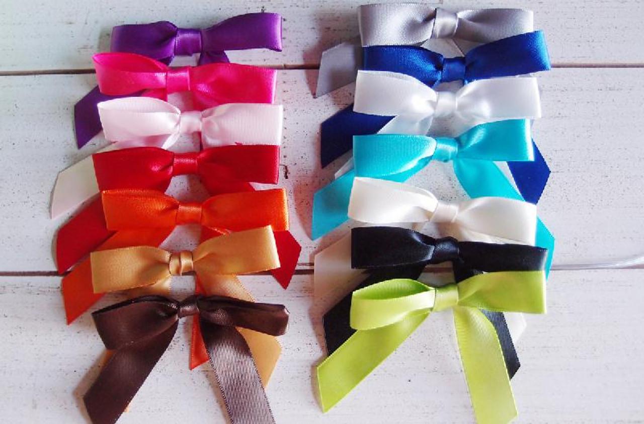 White Satin Pre-tied Bows w/Twist-tie (4 sizes)