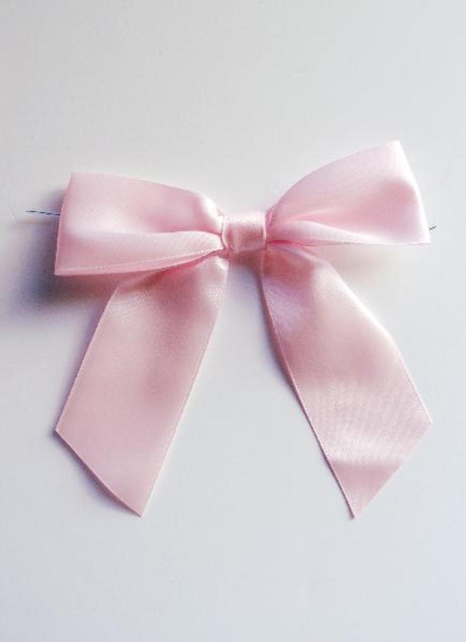 Pink Satin Pre-tied Bows w/Twist-tie (4 sizes)
