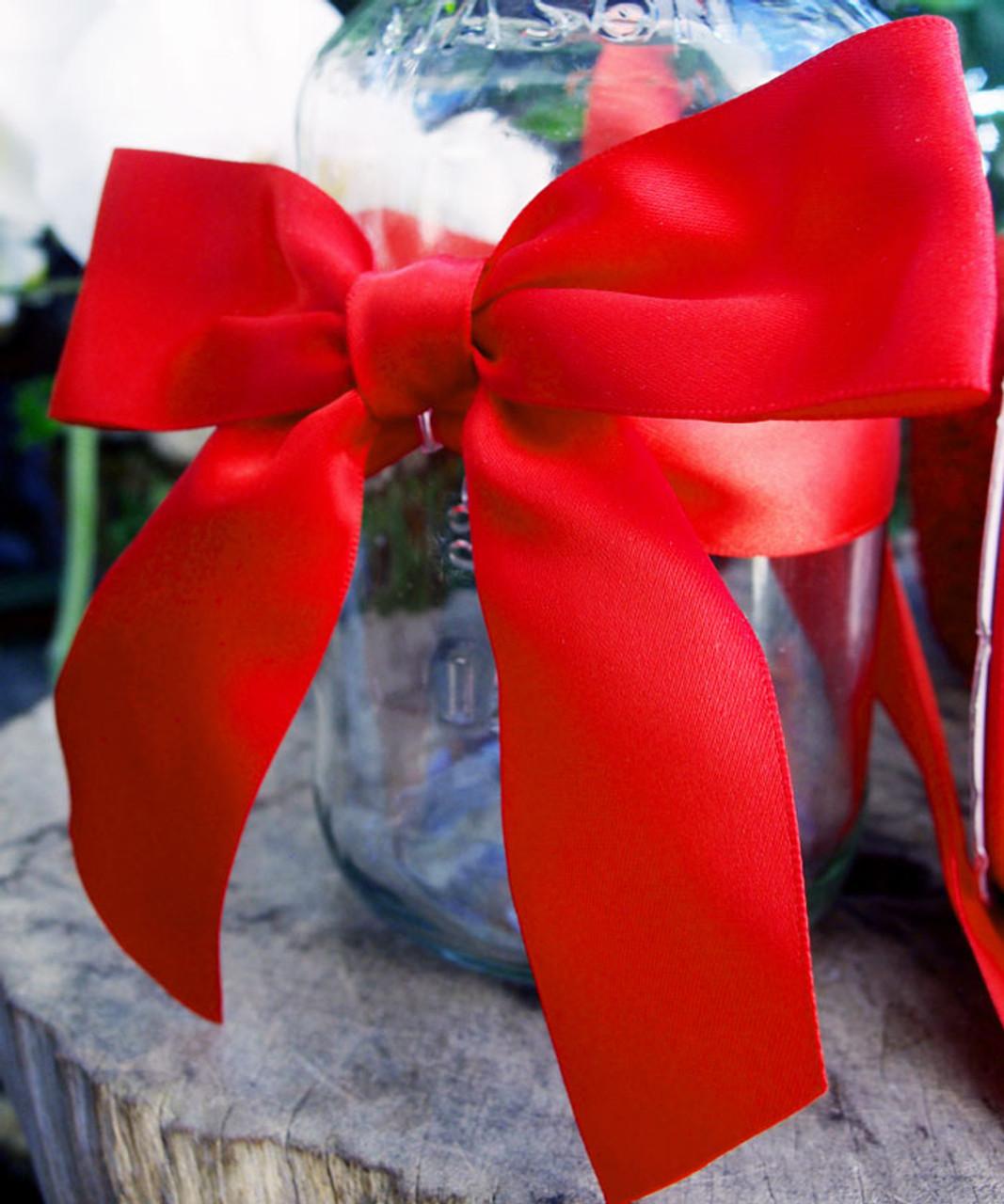 Red Satin Pre-tied Bows w/Twist-tie (4 sizes)