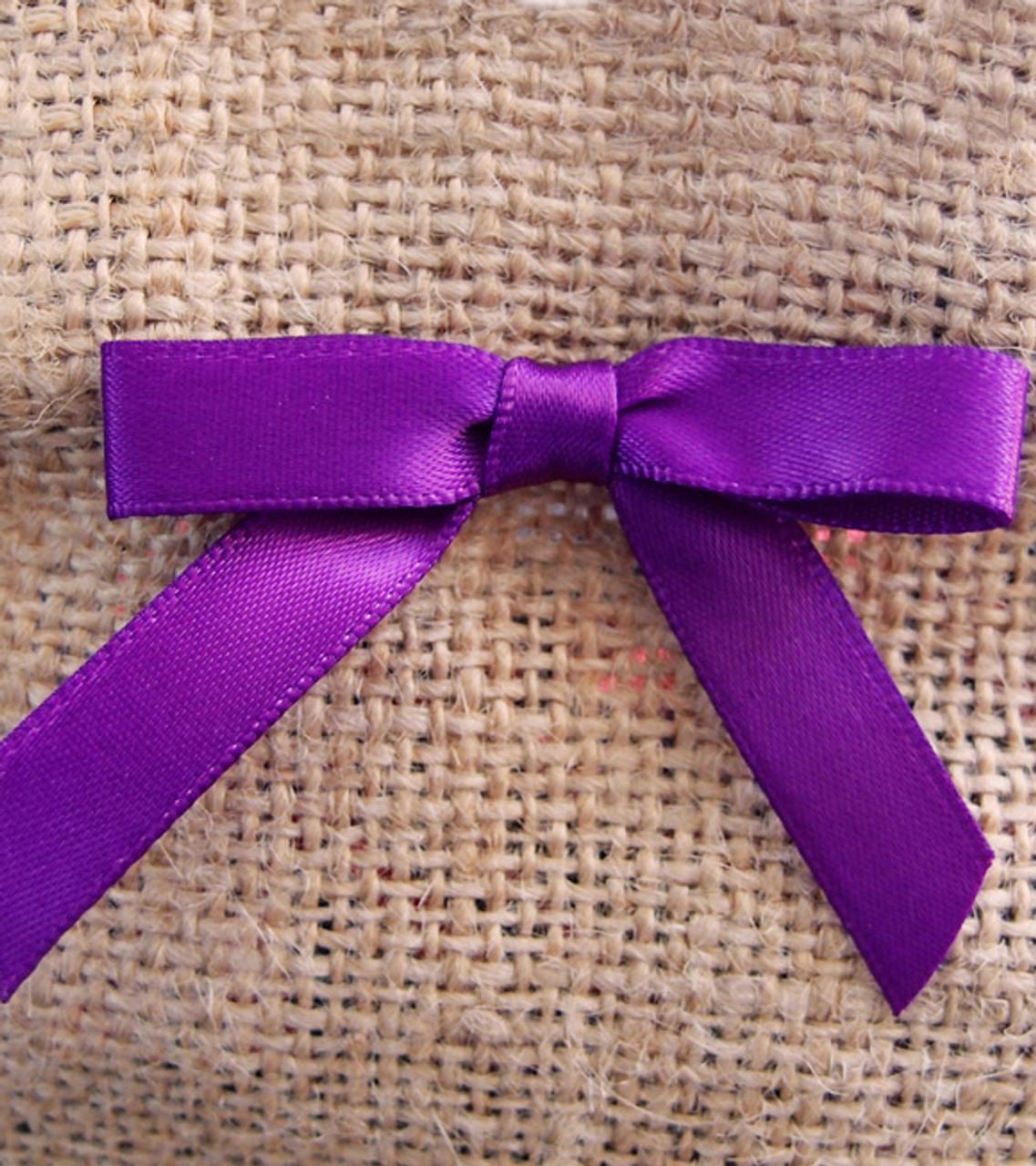 Purple Satin Pre-tied Bows w/Twist-tie (4 sizes)