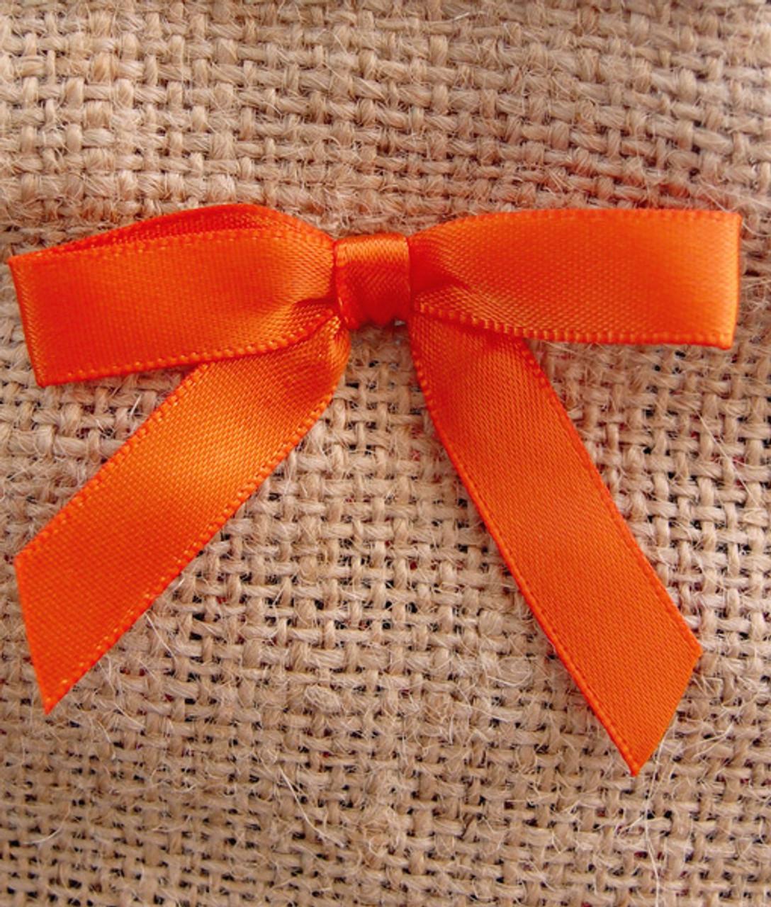 Orange Satin Pre-tied Bows w/Twist-tie (4 sizes)