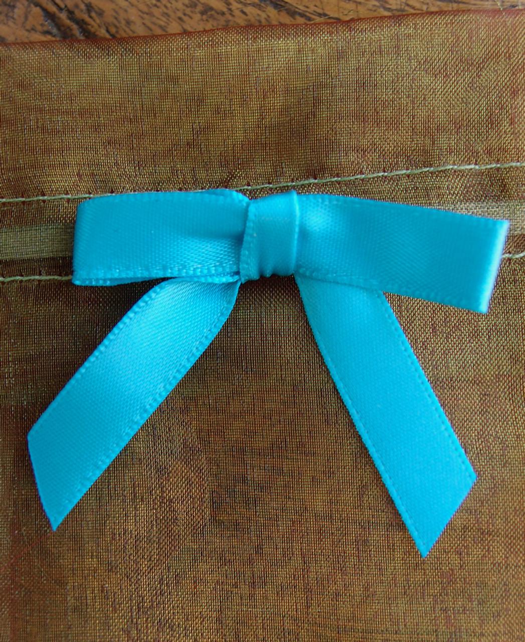 Turquoise Satin Pre-tied Bows w/Twist-tie (4 sizes)