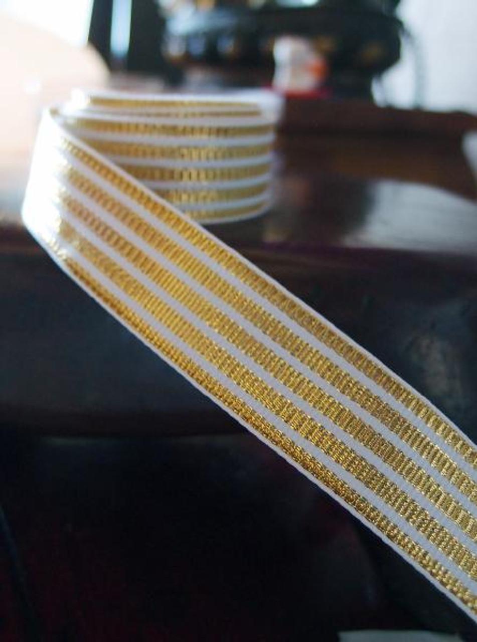Metallic Gold & White Seersucker Striped Grosgrain Ribbon (3 sizes)