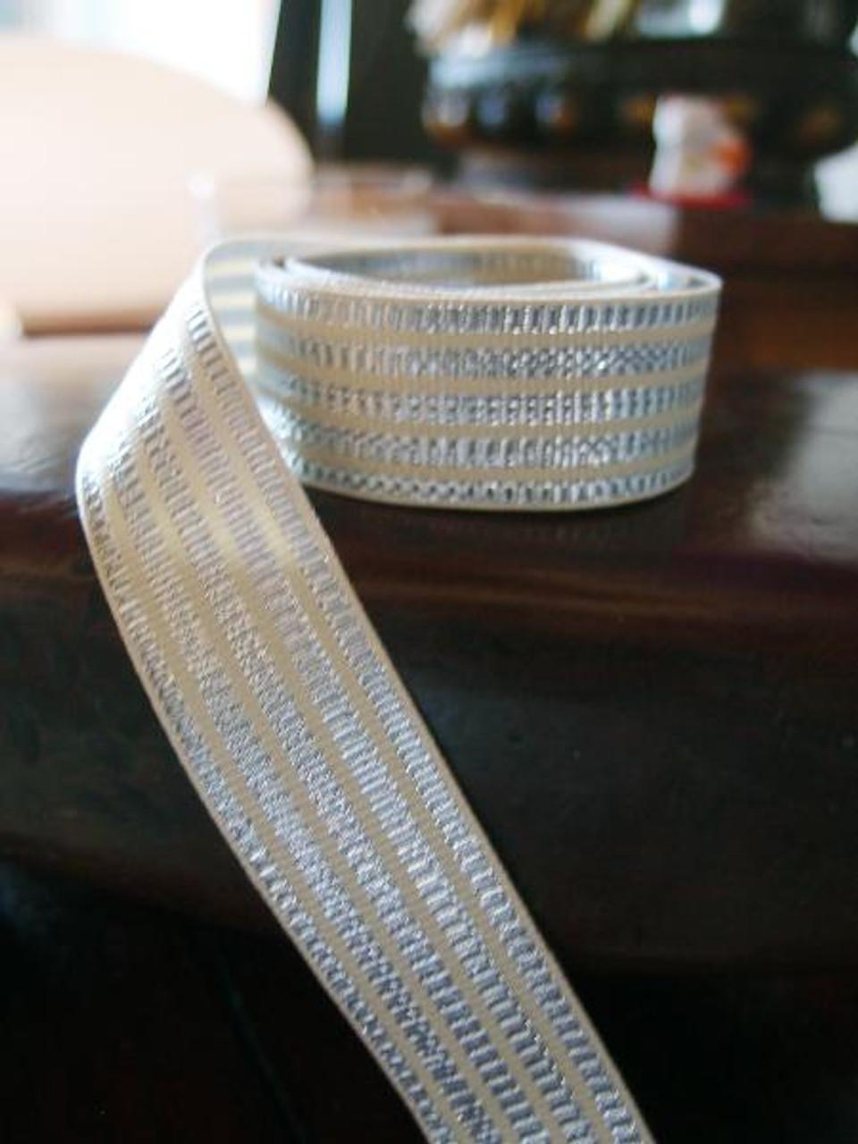 Metallic Silver & Ivory Seersucker Striped Grosgrain Ribbon (3 sizes)