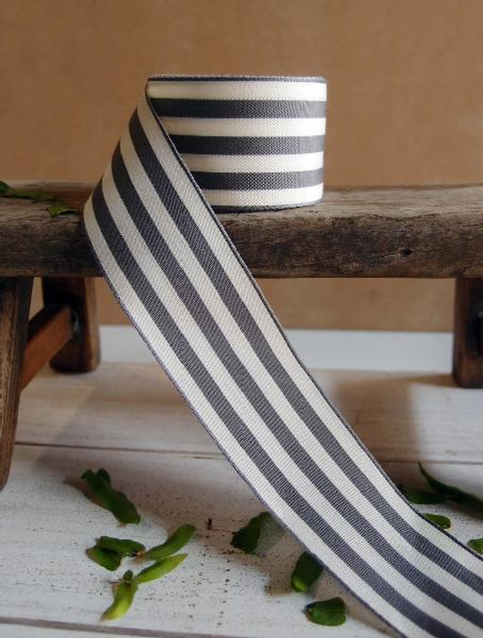 Gray & Ivory Striped Ribbon (3 sizes)