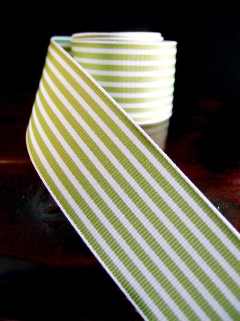 Kiwi & White Seersucker Striped Grosgrain (3 sizes)