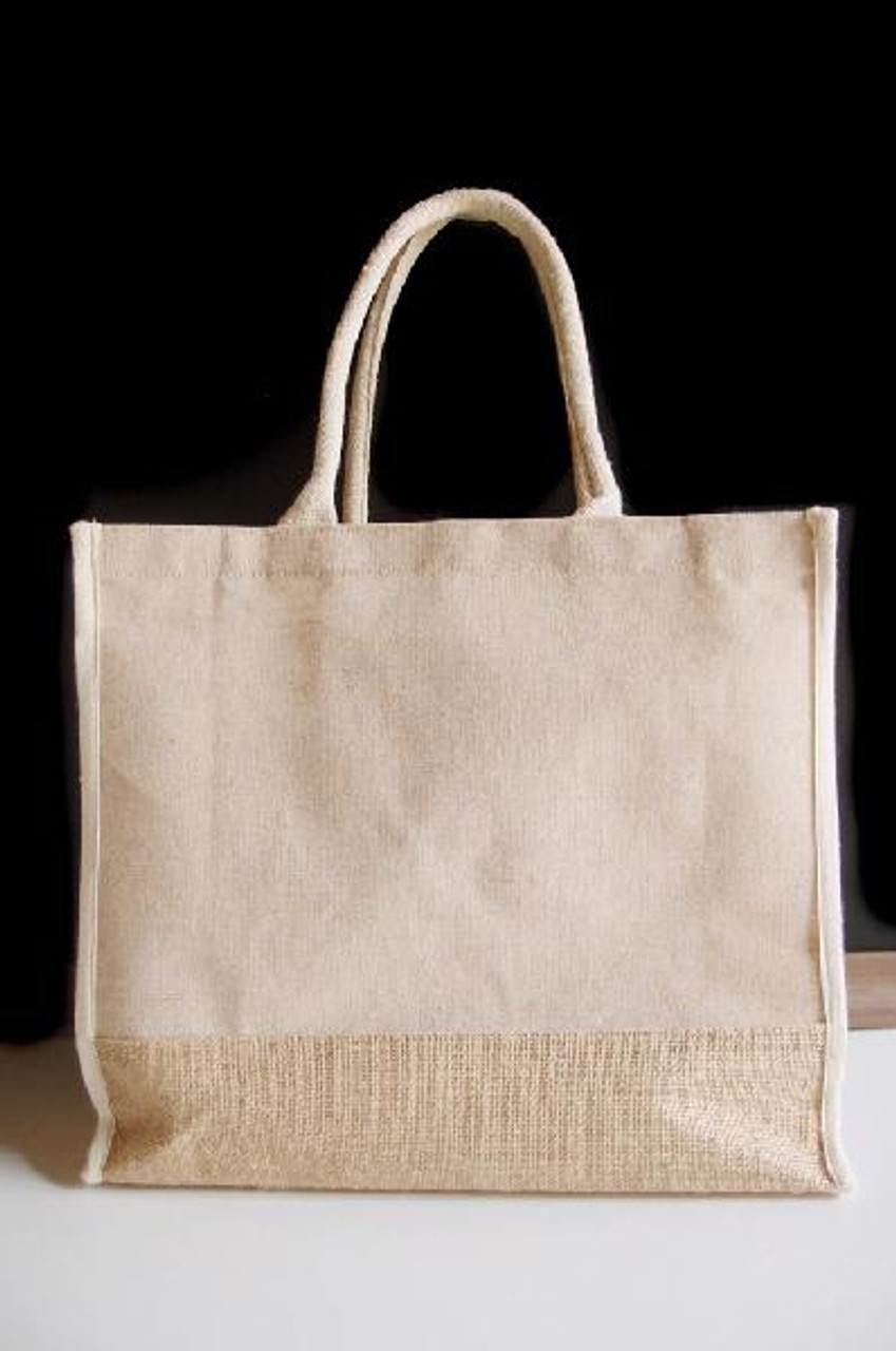 "Jute Blend Tote with Ivory Trim 15"" x 13"""