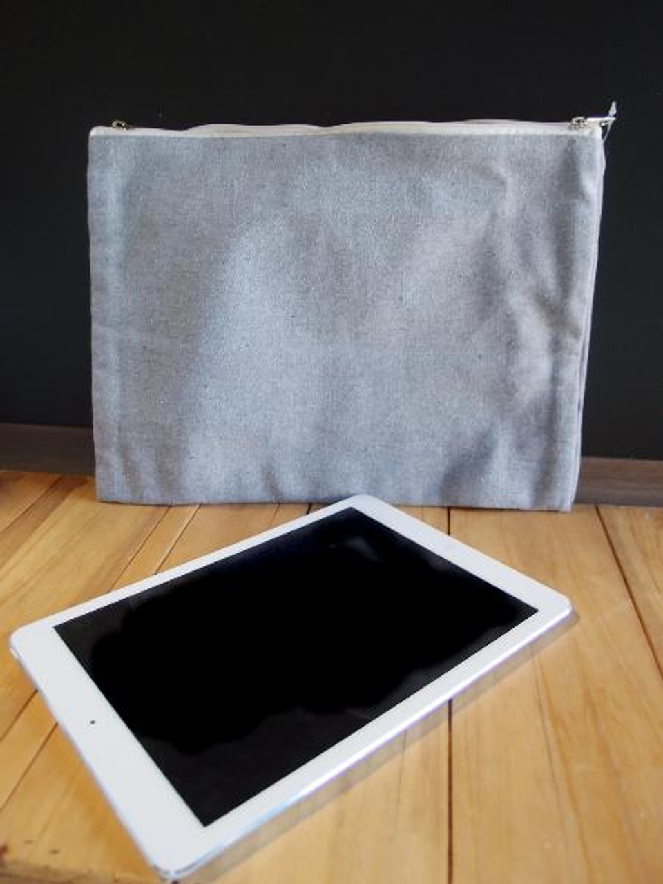 Gray Recycled Canvas Zipper Pouch 13 x 9 1/2 inches B696-70, Wholesale Canvas Zipper Pouches   Packaging Decor