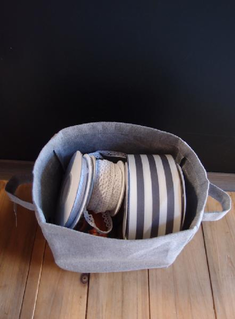 Gray Recycled Canvas Storage Basket, Wholesale Cotton Storage Baskets. Excellent as art storage baskets.