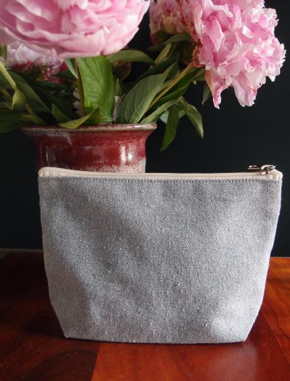 """Gray Recycled Canvas Zipper Pouch 8"""" (B691-70) 