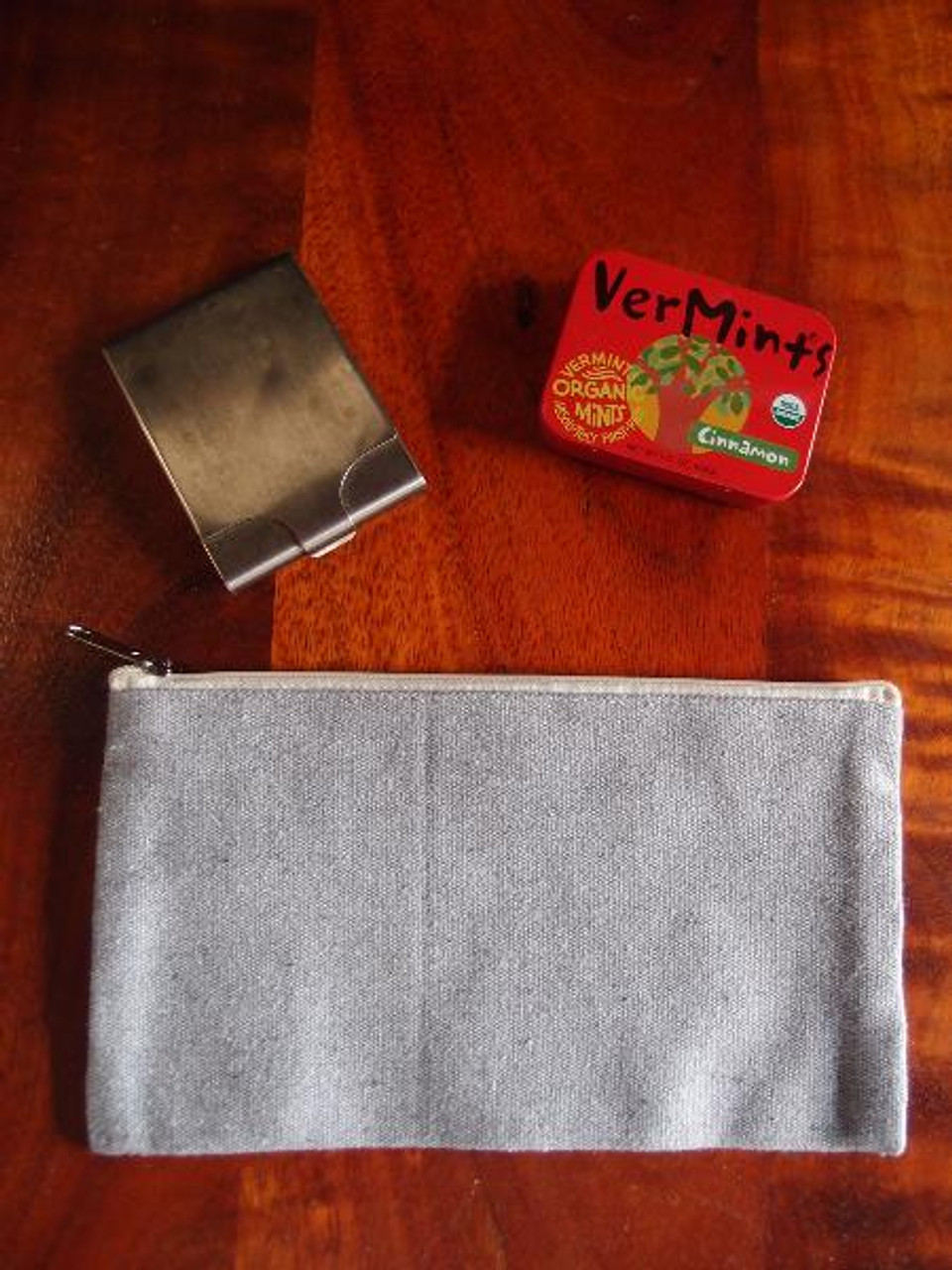 Gray Recycled Canvas Flat Zipper Pouch 9 inches, B694-70, Wholesale Zipper Pouches | Packaging Decor