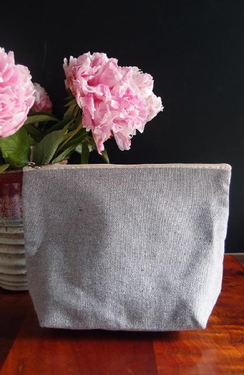 """Gray Recycled Canvas Zipper Pouch 10"""""""