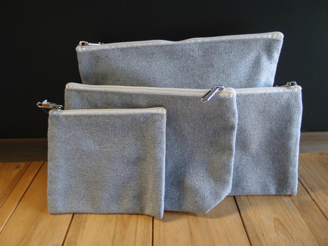 Gray Recycled Canvas Zipper Pouch Small