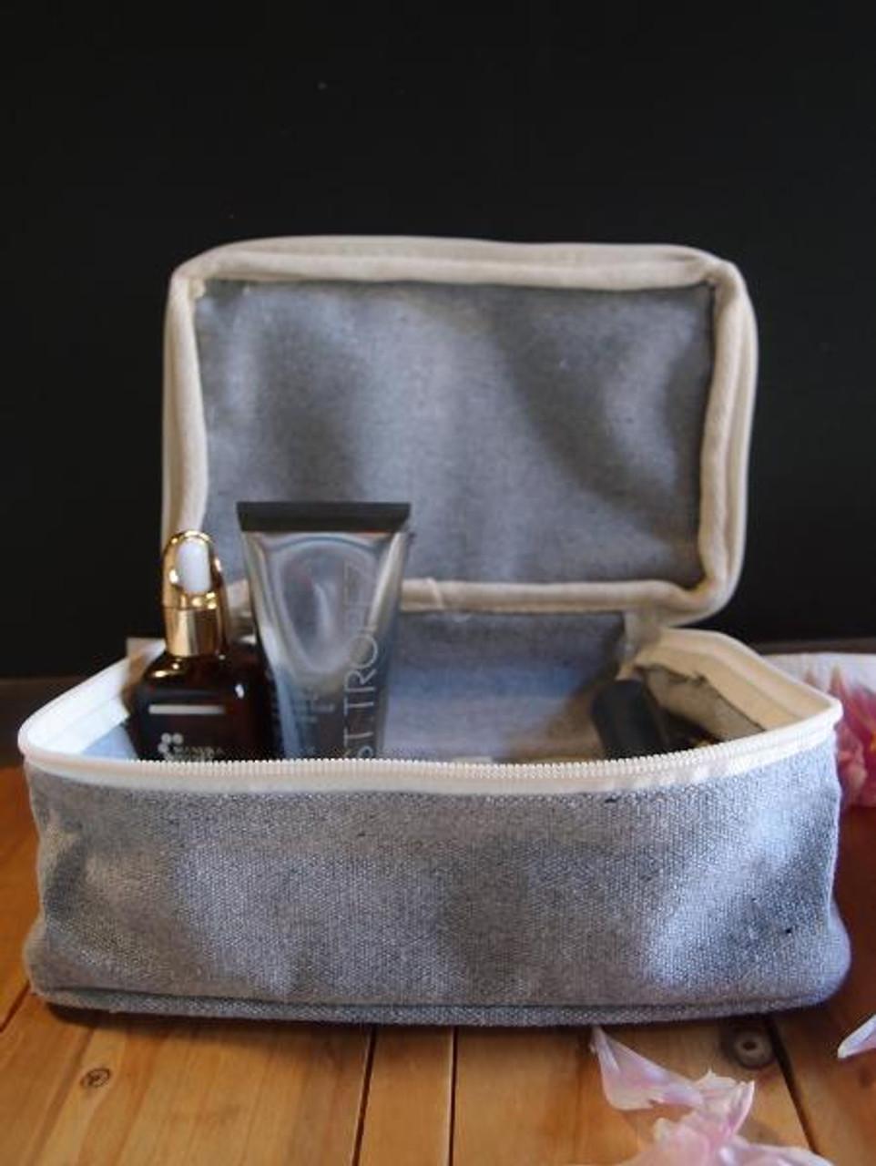 Gray Recycled Canvas Travel Kit Bag Dopp Kit