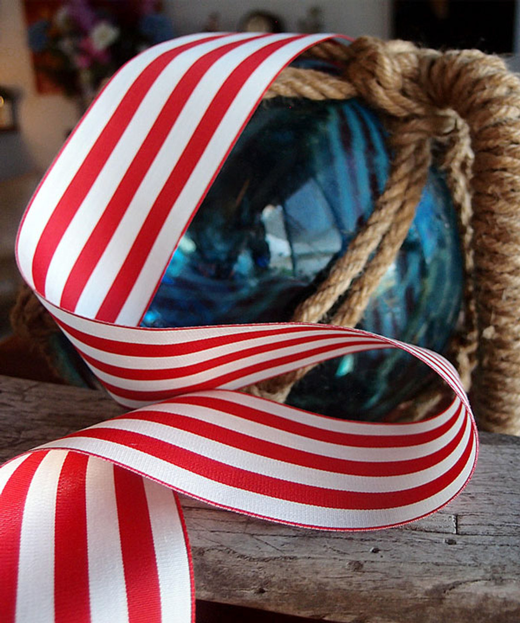 Hot Red & Ivory Striped Ribbon (3 sizes)