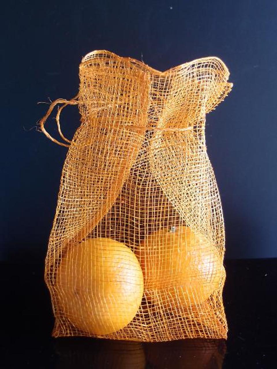 Orange Sinamay Drawstring Pouches