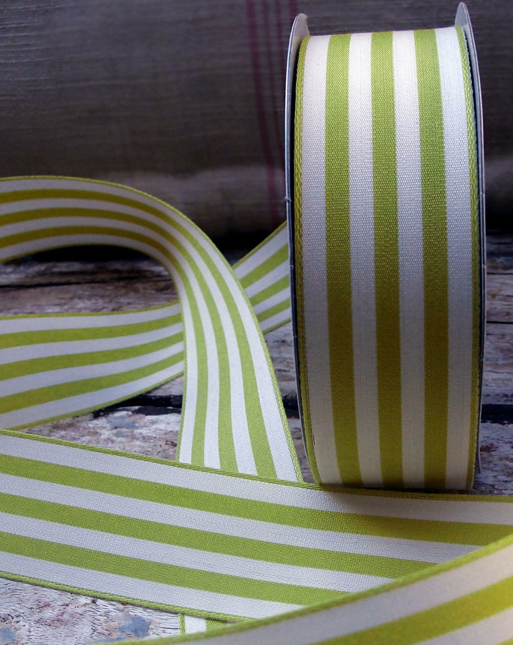 Lime Green & Ivory Striped Ribbon (3 sizes)