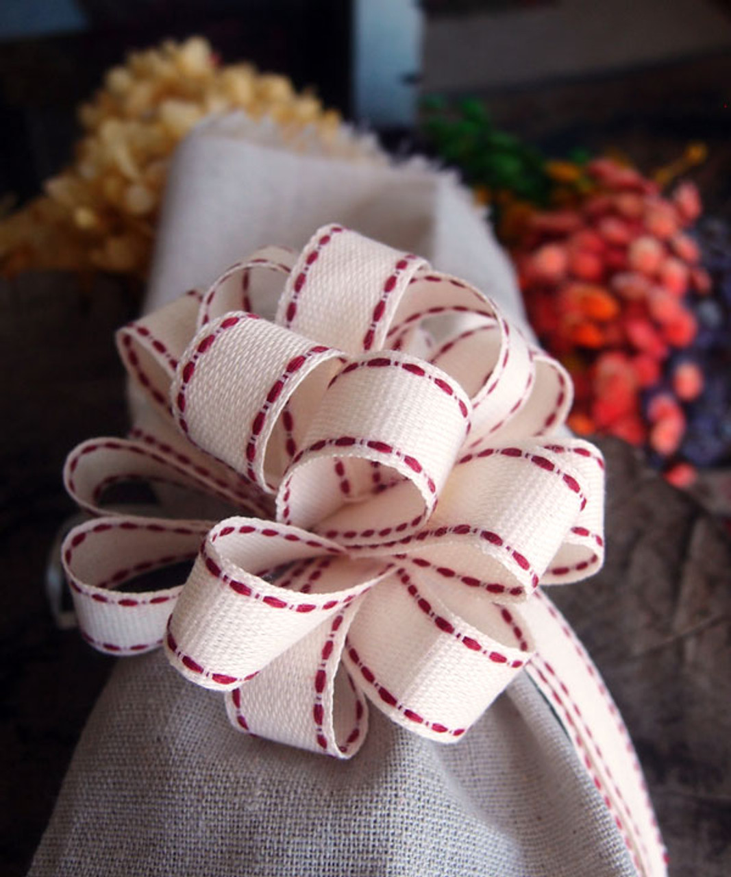 Canvas Pull Bow with Red Stitching (PR814-12), Wholesale Pull Bows | Packaging Decor