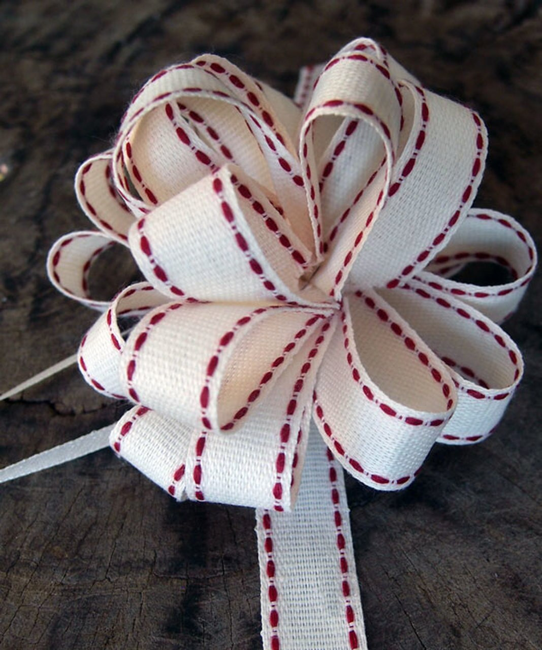 Canvas Pull Bow with Red Stitching, Wholesale Pull Bows | Packaging Decor