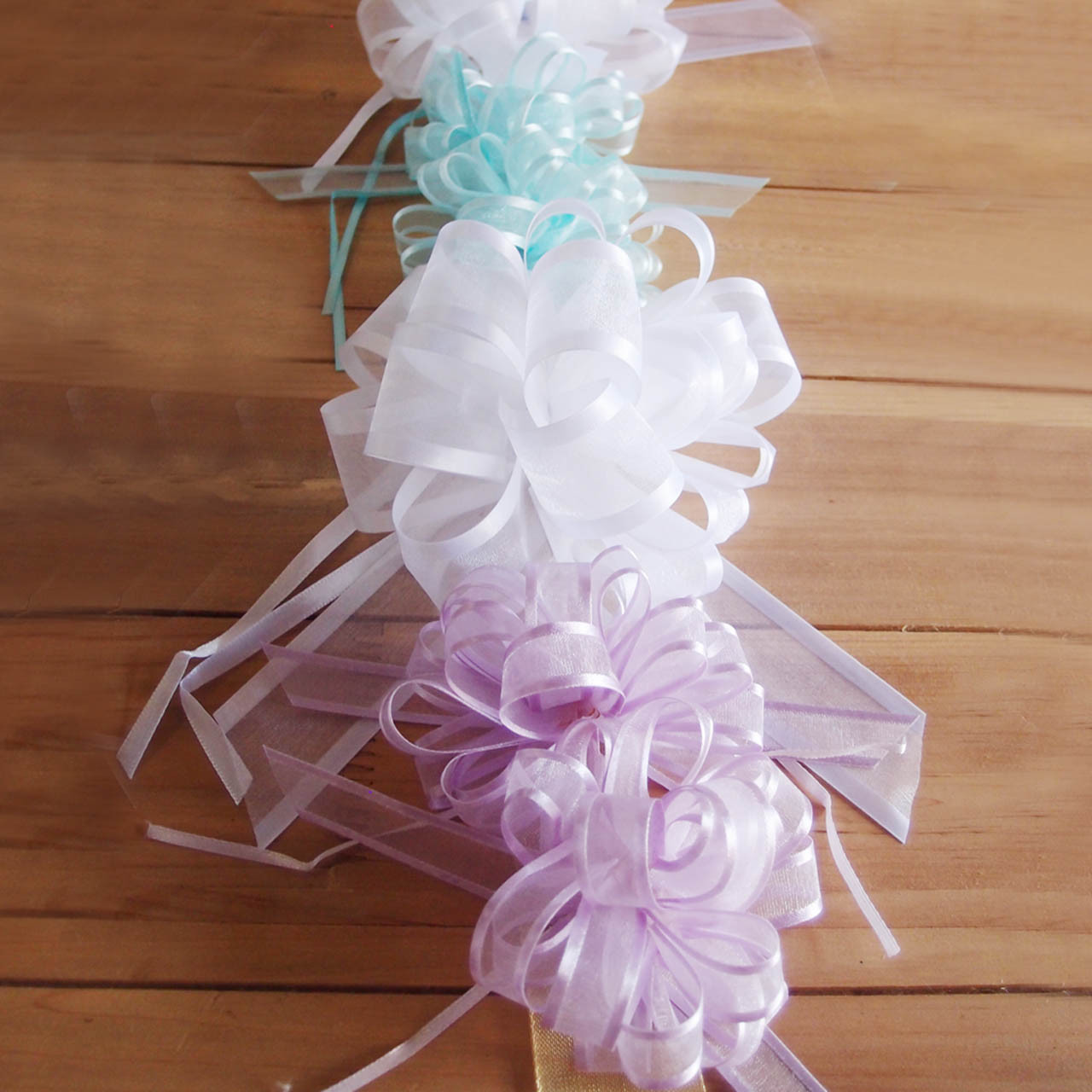Pink Sheer with Satin Edge Pull Bow (2 sizes)