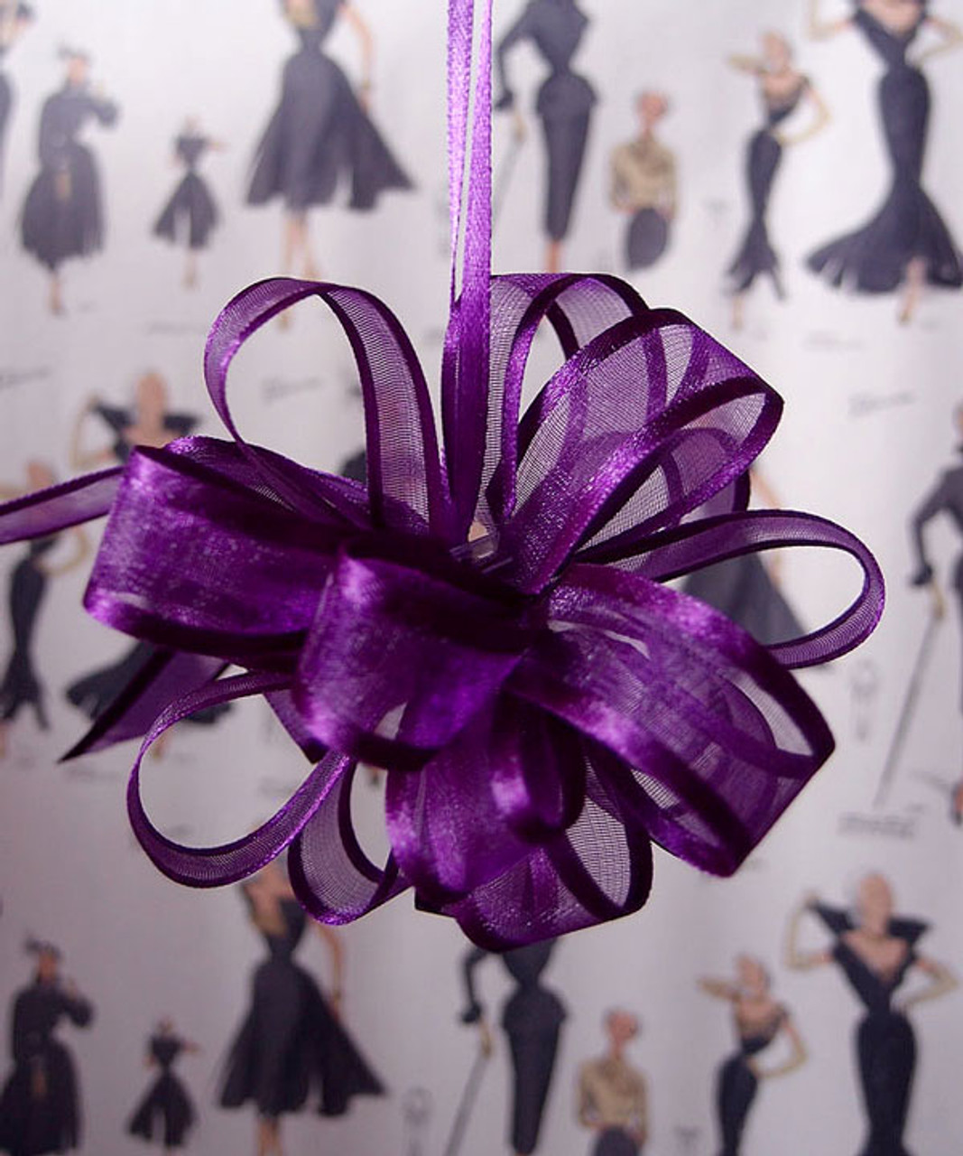 Wholesale Pull Bows, Purple Pull Bows, Sheer with Satin Edge Pull Bow | Packaging Decor