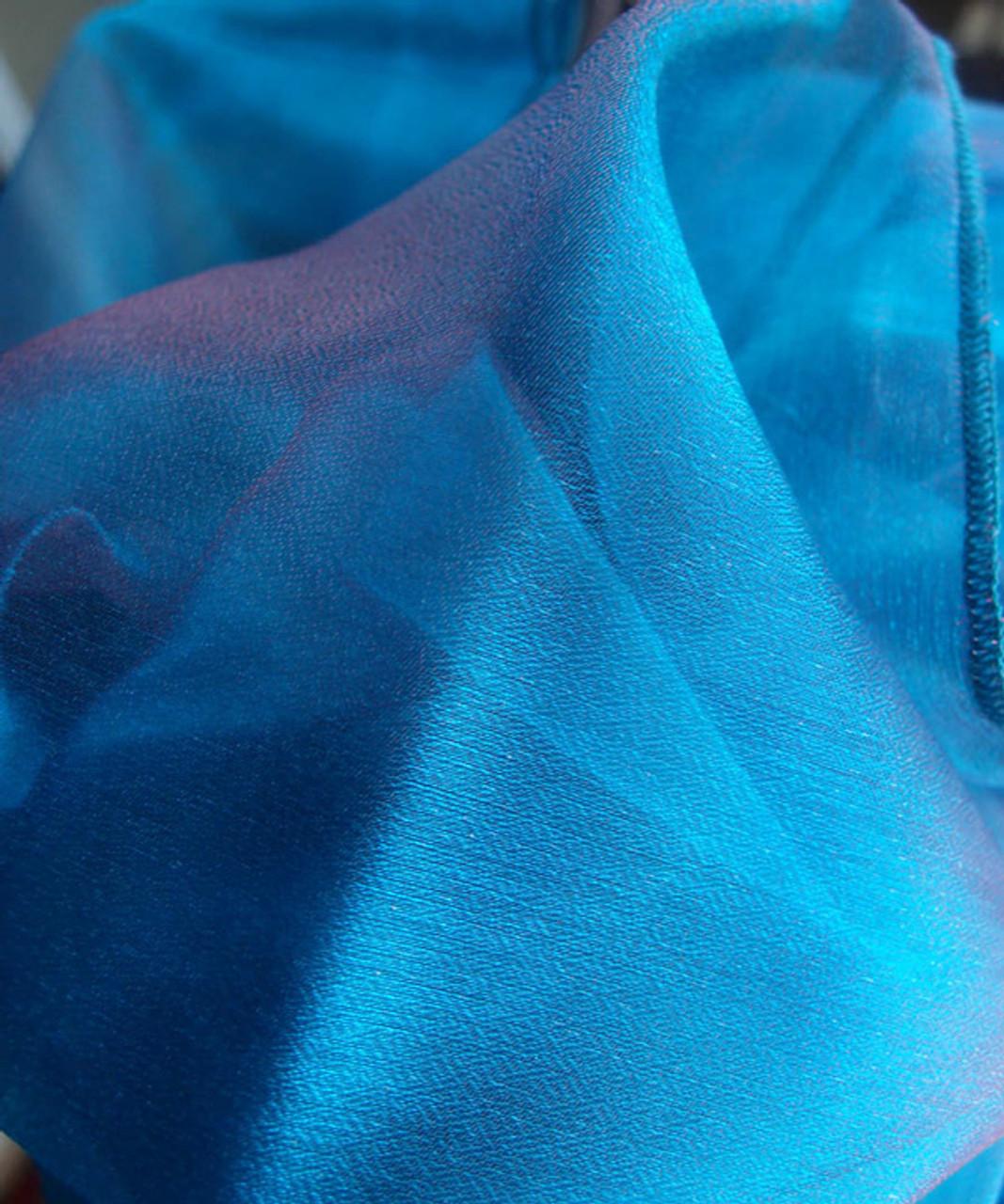 "Peacock Blue Two-tone Organza Sheet 54"" x 108"""