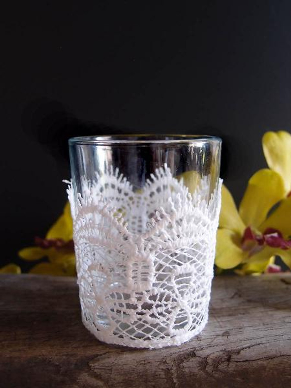 Lace and Glass Votive Holder
