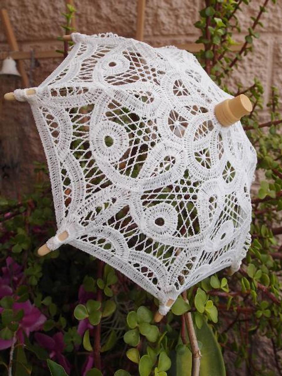 Battenburg Lace Parasol for Weddings and Events, Lace Parasols   Packaging Decor