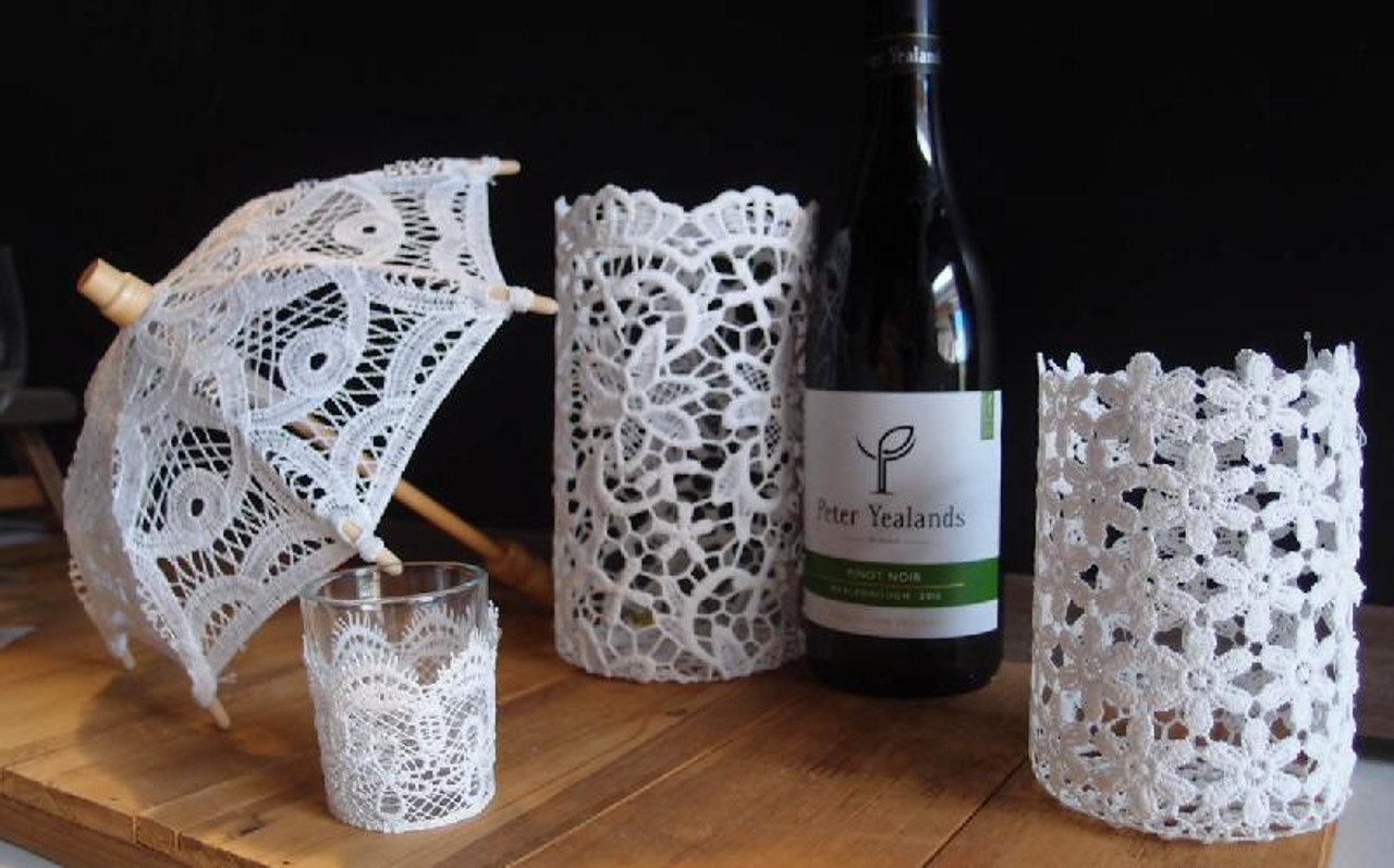 Battenburg Lace Parasol, Lace and Glass Votive Holder and Stiffened Lace Vase & Wine Bottle Holders | Packaging Decor