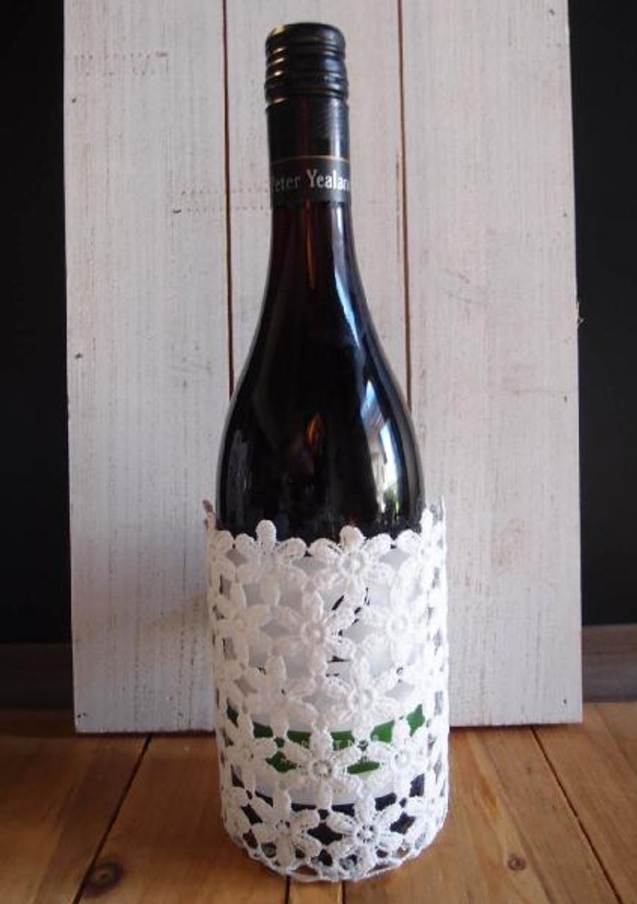 """Stiffened Lace Vase & Wine Bottle Holder 5"""""""