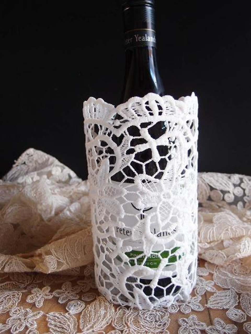 Stiffened Lace Vase and Wine Bottle Holder 8 inches, Wholesale  (LS192-81) | Packaging Decor
