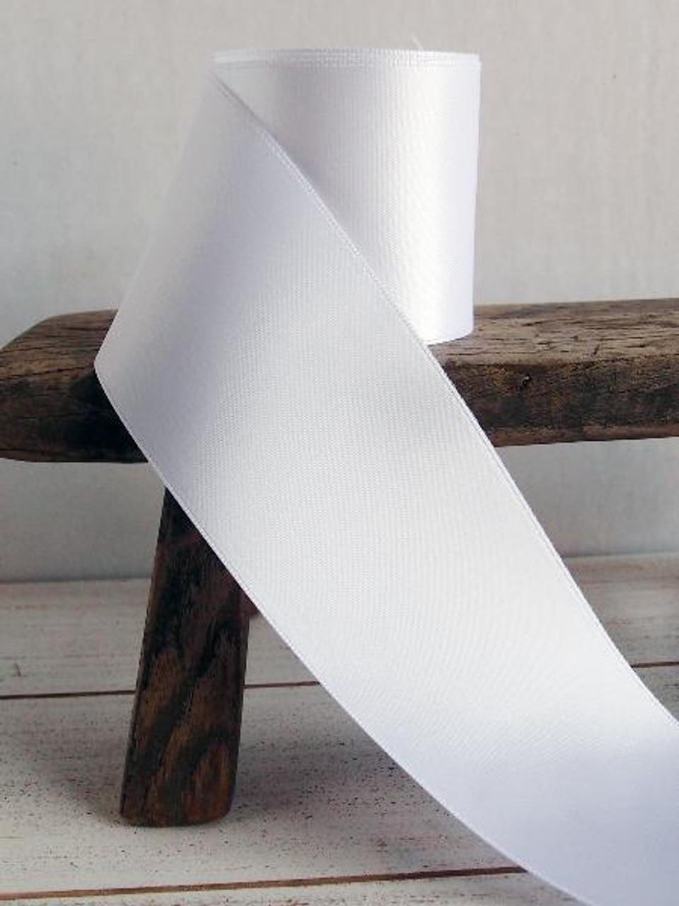 White Double Face Satin Ribbon (11 sizes)