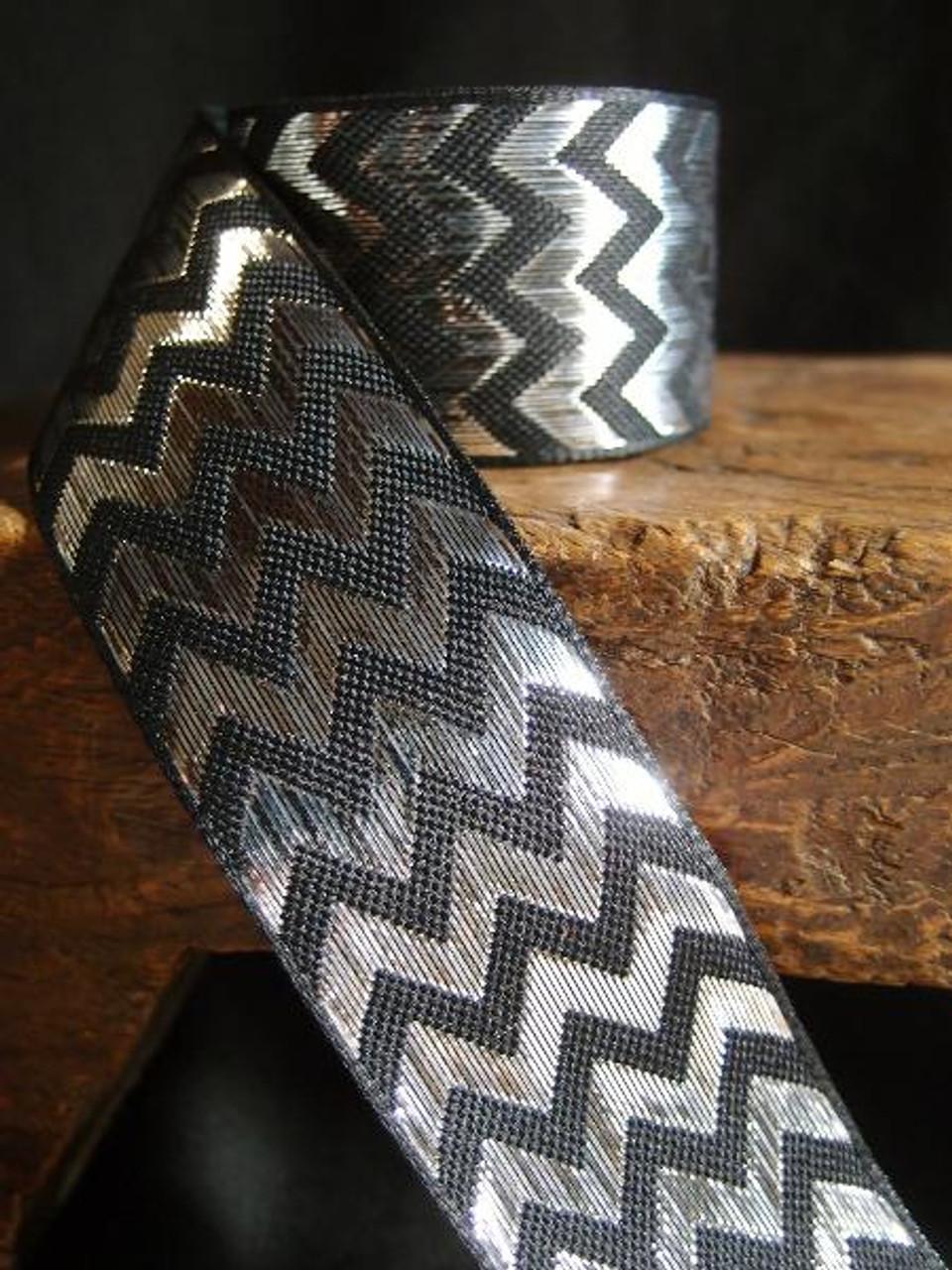 Silver Metallic Chevron on Black Ribbon