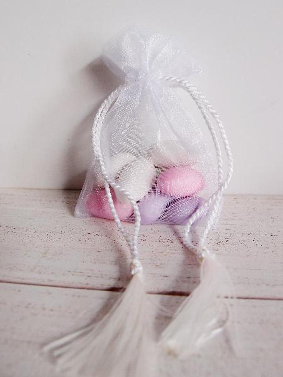 White Organza Bag with Tassel Drawstring (3 sizes)