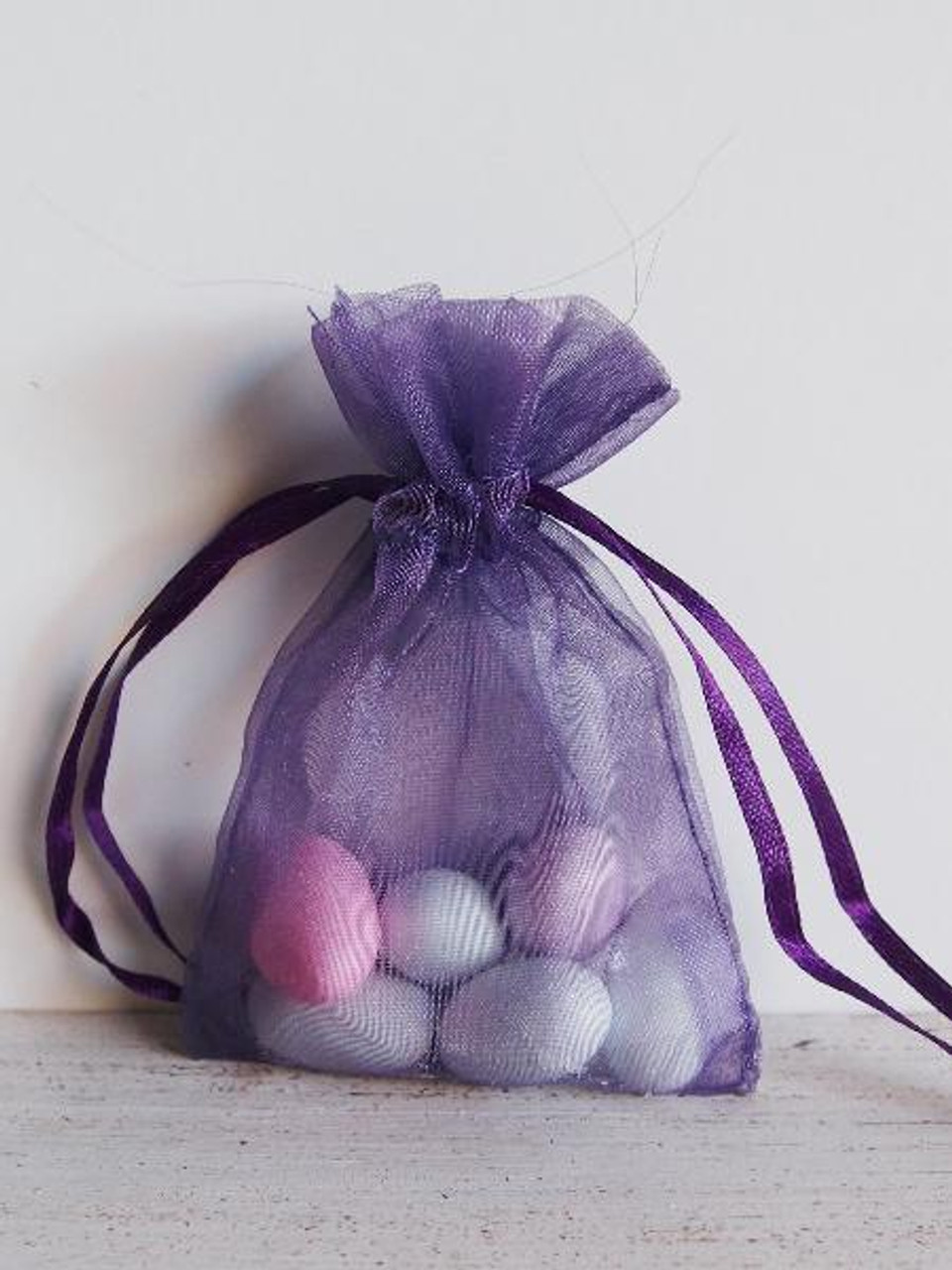 Purple Organza Bag with Ribbon String (9 sizes)