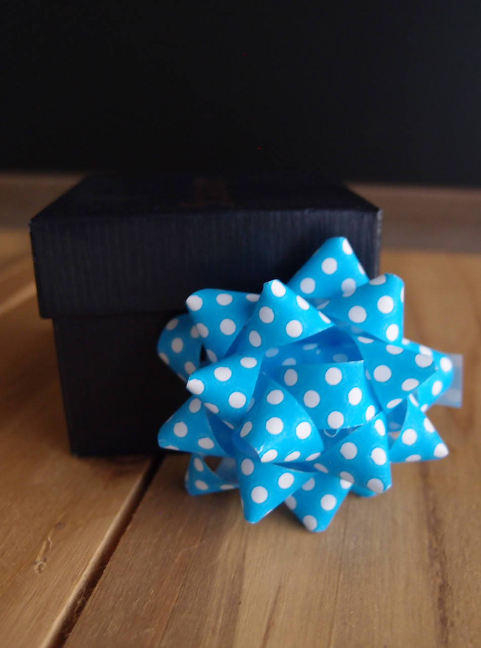 """Blue with White Dots 2"""" Star Bows"""