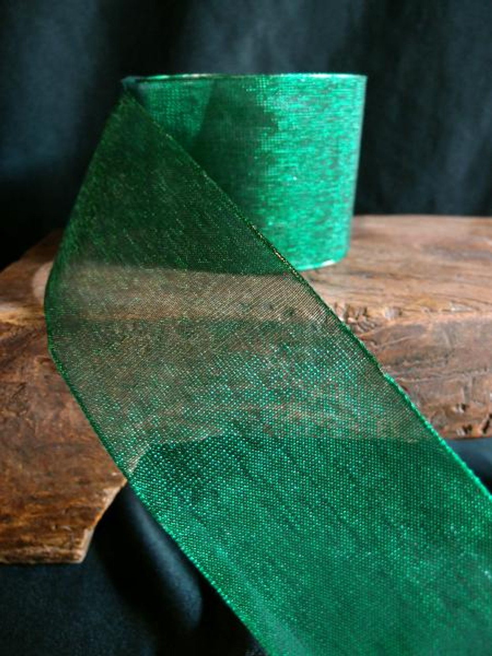 Hunter Green Metallic Sheer w/Wire Ribbon (2 sizes)