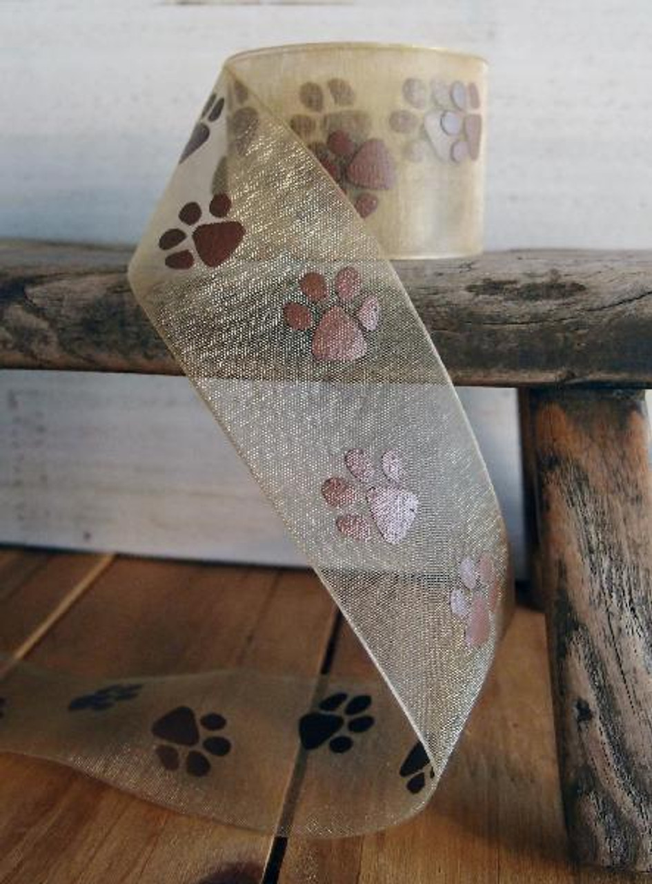 Toffee Sheer with Chocolate Paw Print Ribbon (3 sizes)