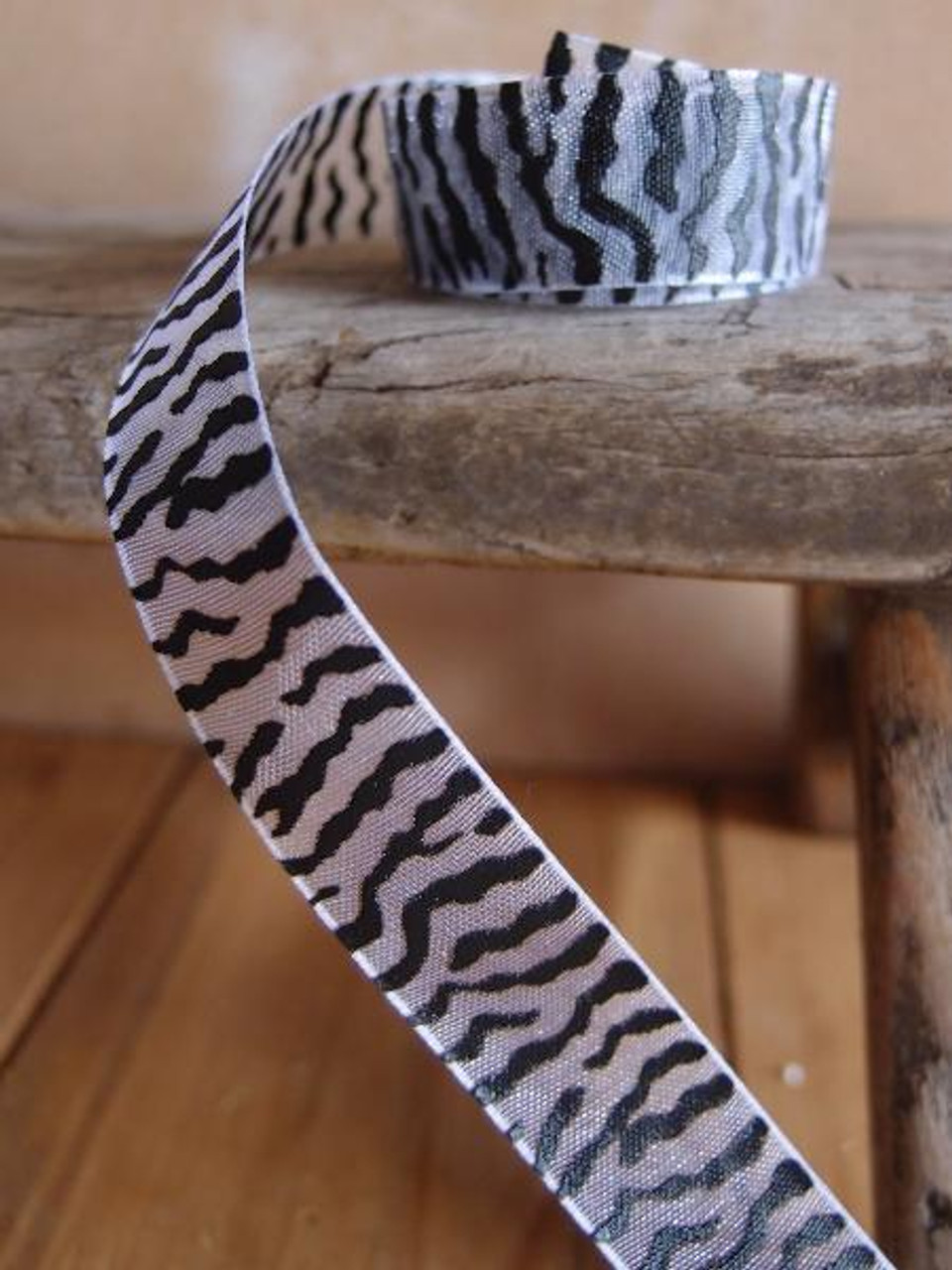 White Sheer with Black Zebra Print Ribbon (4 sizes)