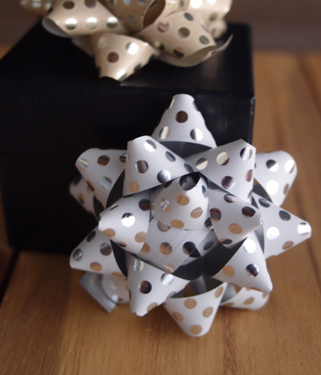 "White with Metallic Silver Dots 2"" Star Bows"