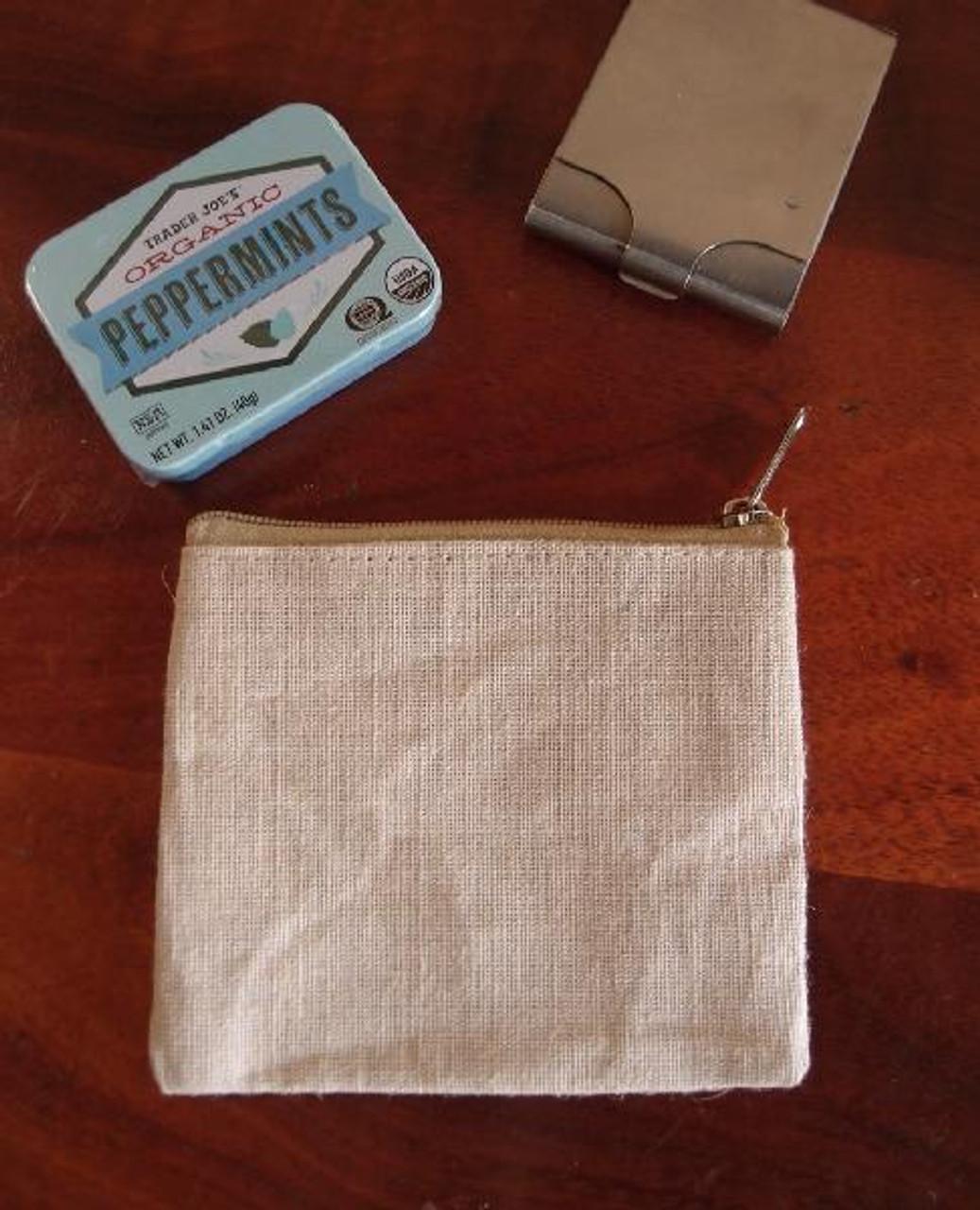 Jute Blend Flat Zipper Pouch Small