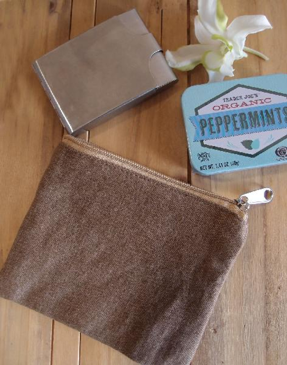 Cotton Brown Washed Canvas Flat Zipper Pouch Small