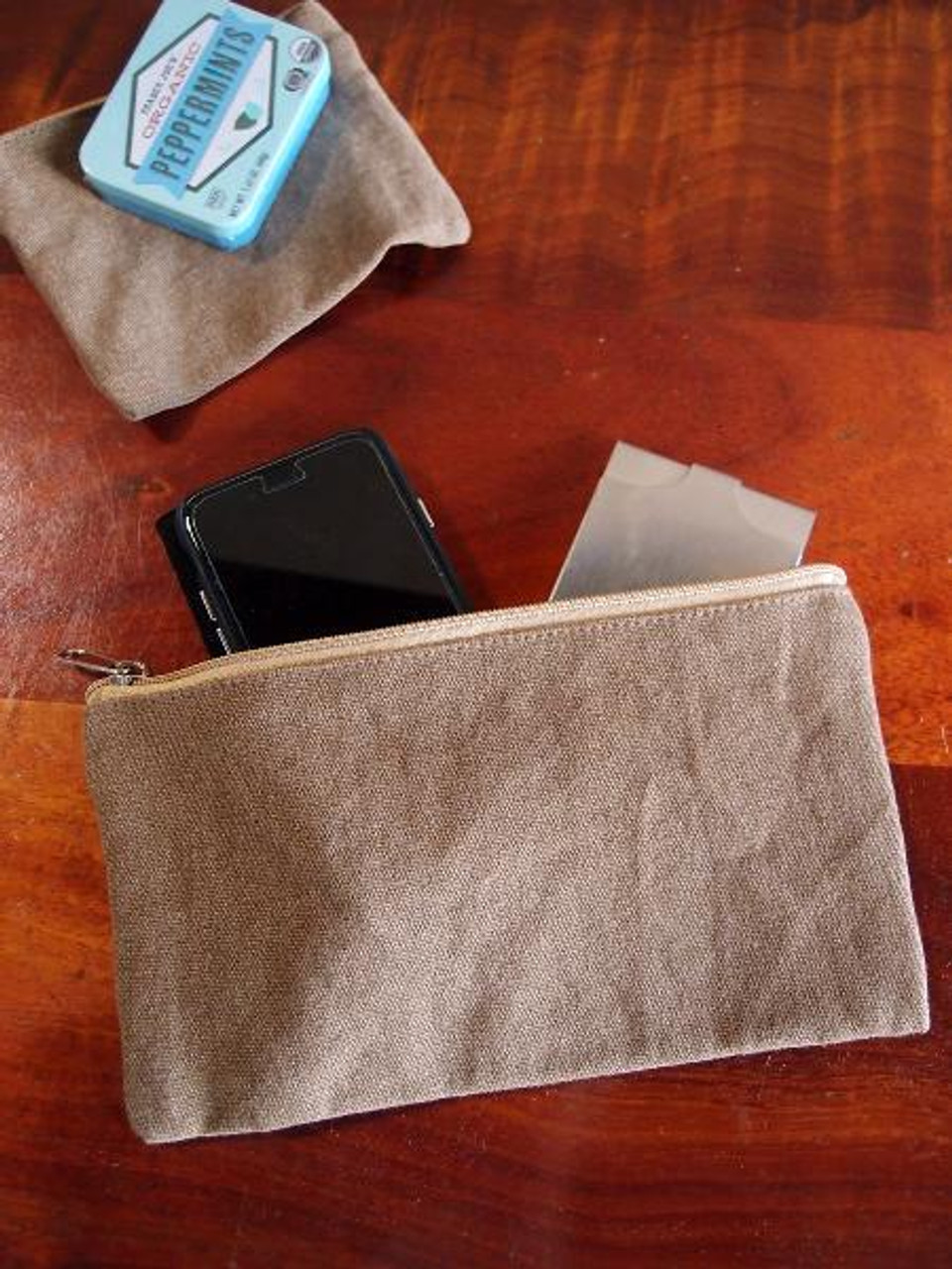 Cotton Brown Washed Canvas Flat Zipper Pouch Large