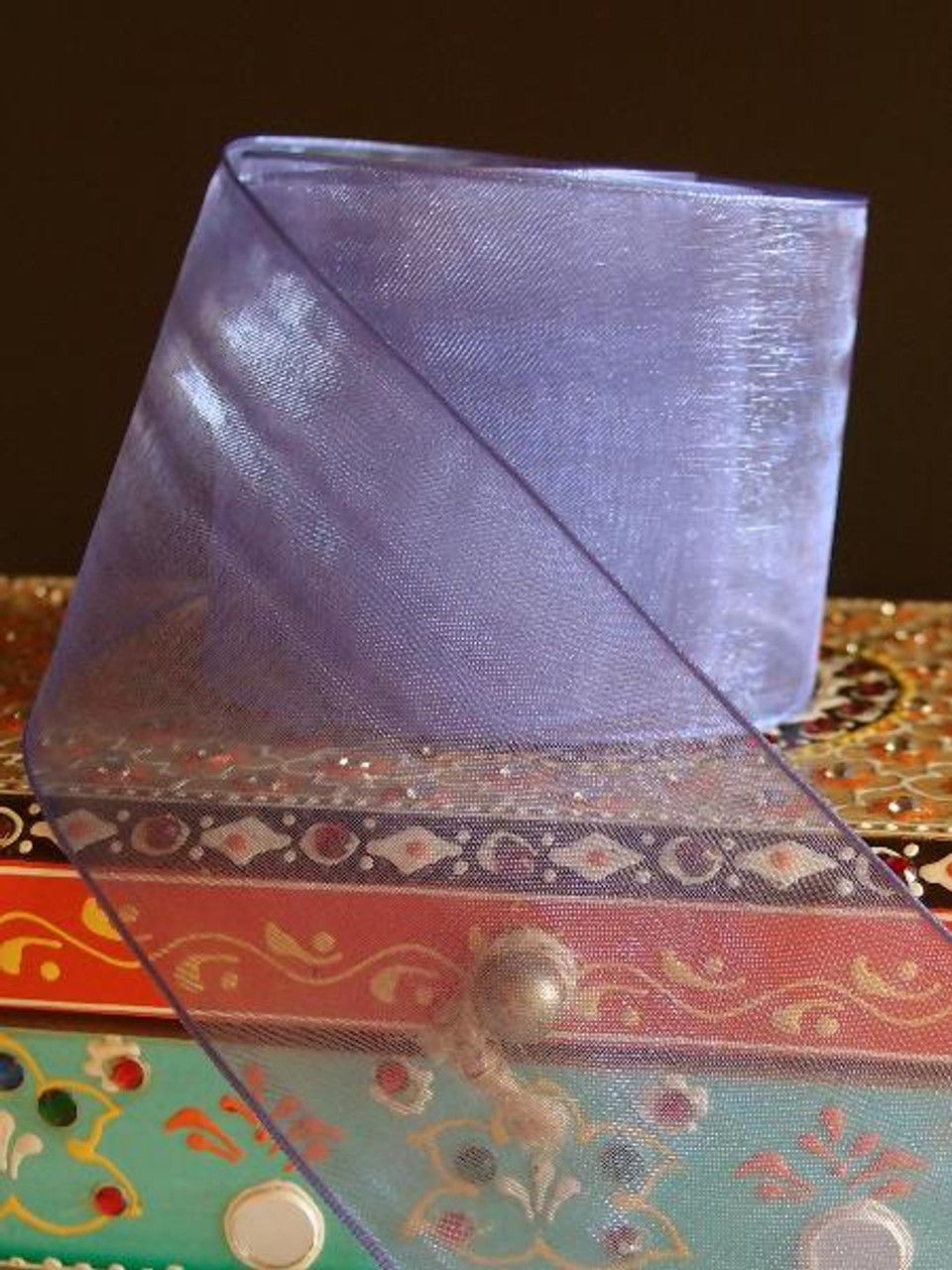 Delphinium Sheer Ribbon with Wired Edge (2 sizes)